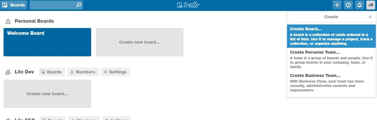 Trello – Creating a Board