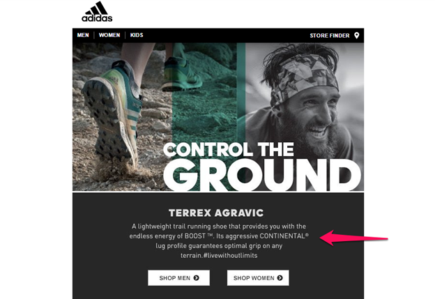 An example of simple email copy from Adidas