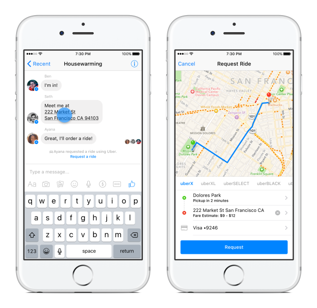 Facebook Messenger - Uber