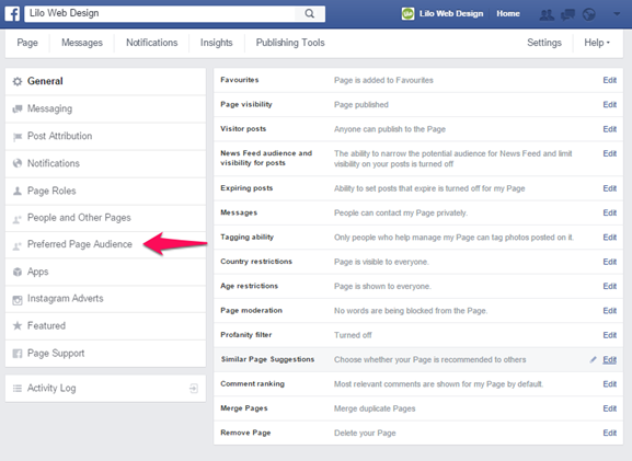 Facebook Page - Settings
