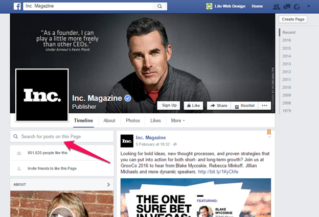 Facebook Profile - Inc Magazine