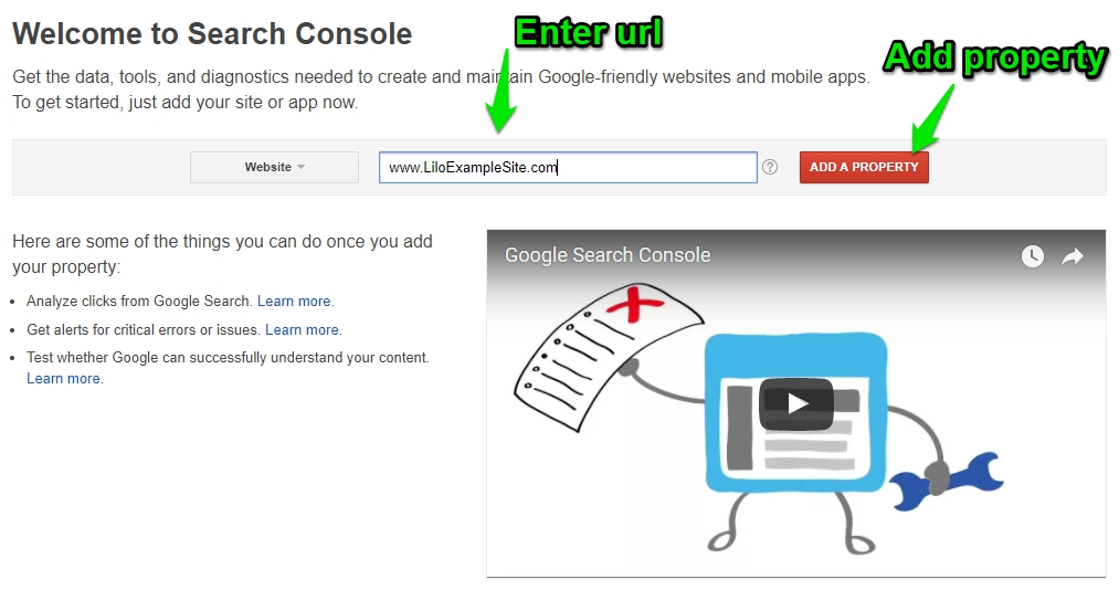 Google Search Console – Signing Up