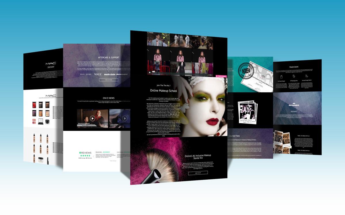 Bespoke site built on the .Net platform for a large online makeup school