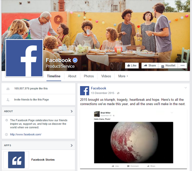 Facebook's official Facebook page