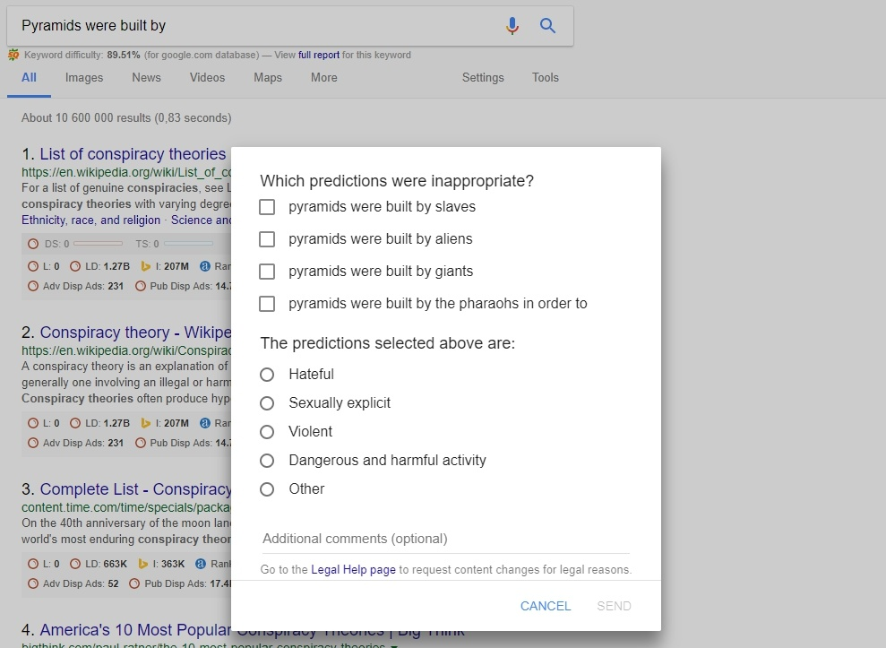 "Google Autocomplete's ""inappropriate predictions"" reporting tool"