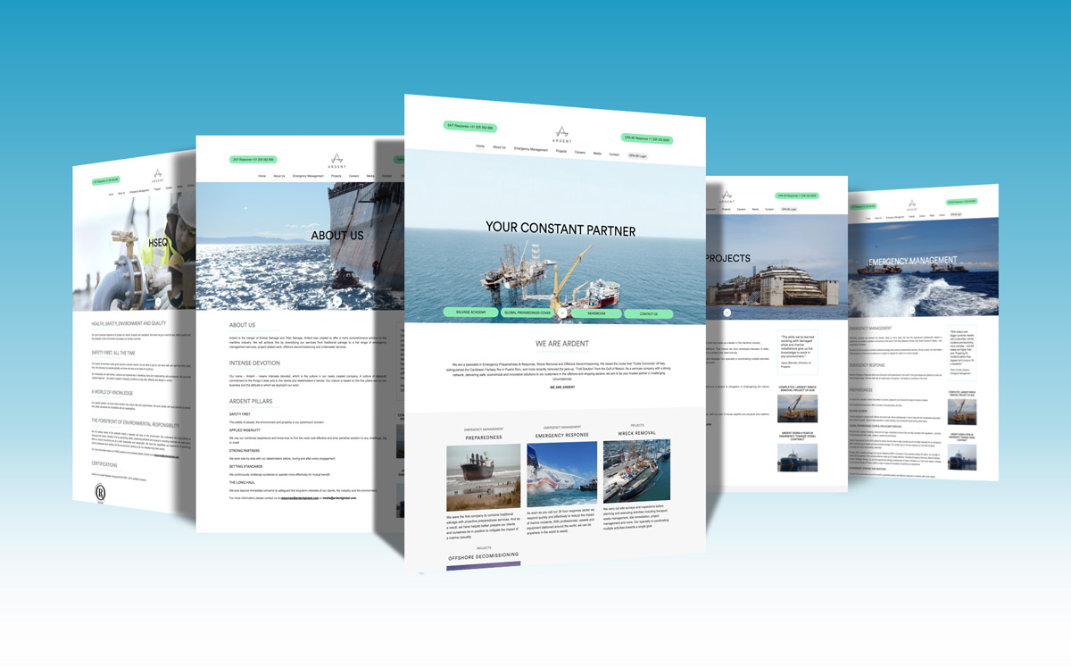 Ardent website designed and veloped on the WordPress platform