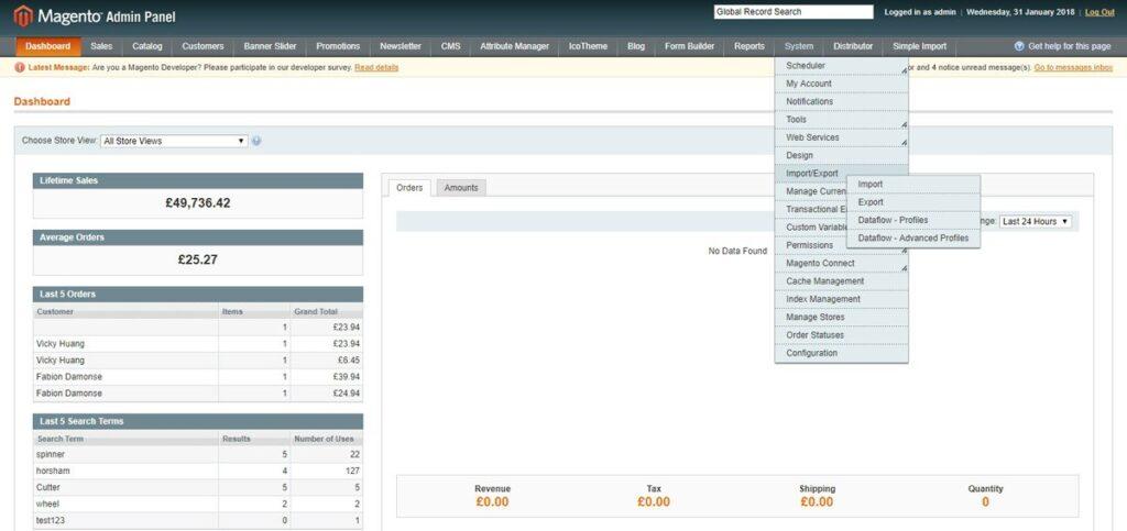 Magento 1.9.2.4 Dashboard