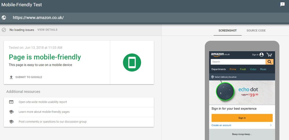Google Mobile-Friendly test for Amazon UK
