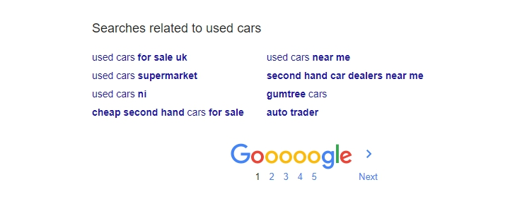 Google - Related search terms